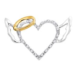 0.06 CTW Diamond Angel Halo Winged Heart Pendant 10KT White Gold - REF-7M4H