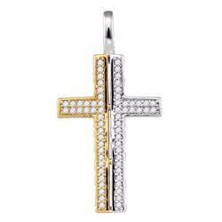 0.20 CTW Diamond Cross Pendant 10KT Two-tone Gold - REF-22W4K