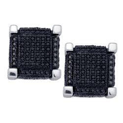 1.12 CTW Mens Black Color Diamond 3D Square Cube Earrings 10KT White Gold - REF-52N4F