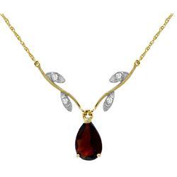 Genuine 1.52 ctw Garnet & Diamond Necklace Jewelry 14KT Yellow Gold - REF-30H7X