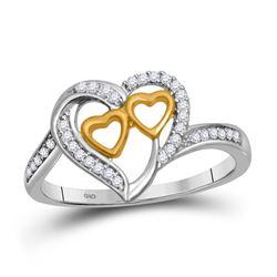 0.12 CTW Diamond Triple Heart Love Ring 10KT White Gold - REF-18X2Y