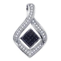 0.16 CTW Black Color Diamond Diagonal Square Teardrop Pendant 10KT White Gold - REF-18F2N