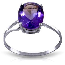 Genuine 2.2 ctw Amethyst Ring Jewelry 14KT White Gold - REF-27Z8N