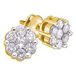 0.25 CTW Diamond Flower Cluster Earrings 10KT Yellow Gold - REF-19Y4X