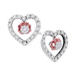 0.33 CTW Diamond Heart Love Earrings 10KT White Gold - REF-22F4N