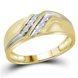 0.12 CTW Mens Diamond Double Row Two-tone Wedding Ring 10KT Yellow Gold - REF-19Y4X