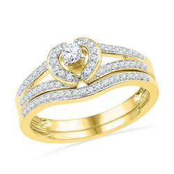 0.33 CTW Diamond Heart Bridal Engagement Ring 10KT Yellow Gold - REF-34M4H