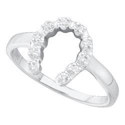 0.05 CTW Diamond Simple Lucky Horseshoe Ring 10KT White Gold - REF-8N9F