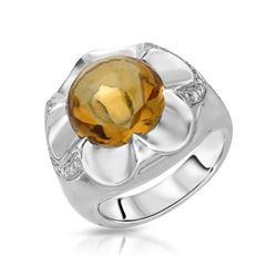 7.12 CTW Citrine & Diamond Ring 14K White Gold - REF-64W2H
