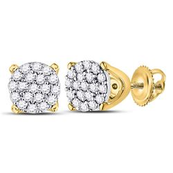 0.13 CTW Diamond Cluster Earrings 10KT Yellow Gold - REF-12Y2X