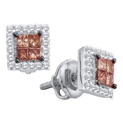 0.33 CTW Princess Brown Color Diamond Stud Earrings 14KT White Gold - REF-31Y4X