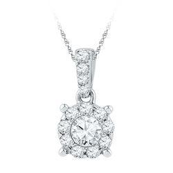 0.50 CTW Diamond Solitaire Circle Pendant 10KT White Gold - REF-52X4Y