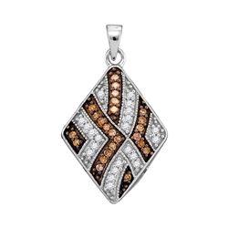 0.33 CTW Cognac-brown Color Diamond Square Pendant 10KT White Gold - REF-22X4Y