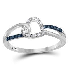0.11 CTW Blue Color Diamond Captured Heart Ring 10KT White Gold - REF-14K9W
