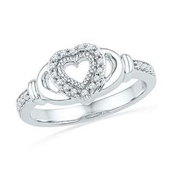 0.12 CTW Diamond Milgrain Heart Love Ring 10KT White Gold - REF-22N4F