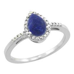 Natural 0.83 ctw lapis-lazuli & Diamond Engagement Ring 10K White Gold - REF-17N5G