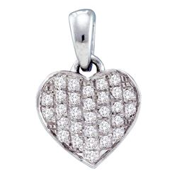 0.10 CTW Diamond Heart Love Pendant 10KT White Gold - REF-8M2H