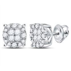 0.50 CTW Princess Diamond Soleil Cluster Earrings 14KT White Gold - REF-52X4Y