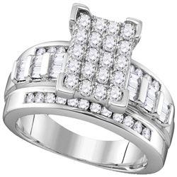 1 CTW Diamond Rectangle Cluster Bridal Engagement Ring 10KT White Gold - REF-68M9H