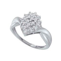 0.25 CTW Prong-set Diamond Oval Cluster Ring 10KT White Gold - REF-20W9K