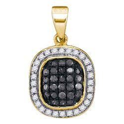 0.25 CTW Black Color Diamond Square Cluster Pendant 10KT Yellow Gold - REF-14X9Y