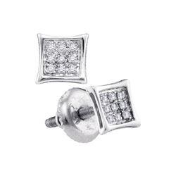 0.05 CTW Diamond Square Kite Cluster Stud Earrings 14KT White Gold - REF-7N4F