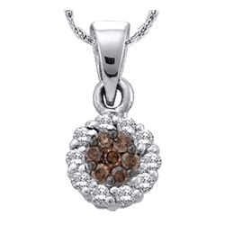 0.25 CTW Cognac-brown Color Flower Cluster Diamond Pendant 14k White Gold - REF-19F4N