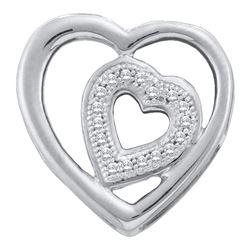 0.05 CTW Diamond Heart Love Pendant 10KT White Gold - REF-12W8K
