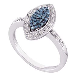 0.25 CTW Blue Color Diamond Cluster Ring 10KT White Gold - REF-30K2W
