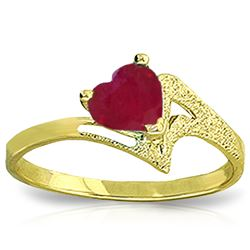 Genuine 1 ctw Ruby Ring Jewelry 14KT Yellow Gold - REF-43W2Y