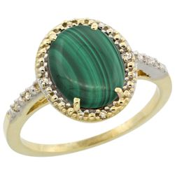 Natural 2.77 ctw Malachite & Diamond Engagement Ring 10K Yellow Gold - REF-23N2G