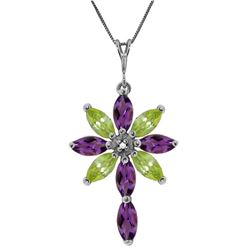 Genuine 2.0 ctw Amethyst, Peridot & Diamond Necklace Jewelry 14KT White Gold - REF-47V4W