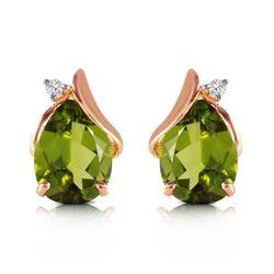 Genuine 4.26 ctw Peridot & Diamond Earrings Jewelry 14KT Rose Gold - REF-46K2V