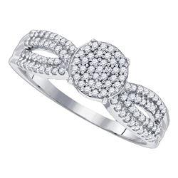 0.33 CTW Diamond Cluster Split-shank Bridal Ring 10KT White Gold - REF-32N9F
