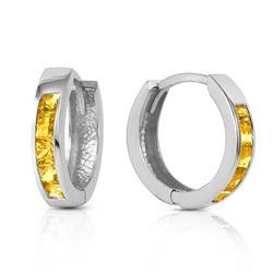 Genuine 0.70 ctw Citrine Earrings Jewelry 14KT White Gold - REF-36F3Z