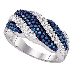 0.85 CTW Blue Color Diamond Ring 10KT White Gold - REF-52Y4X