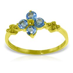 Genuine 0.58 ctw Blue Topaz Ring Jewelry 14KT Yellow Gold - REF-23P5H