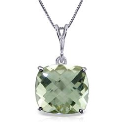 Genuine 3.6 ctw Green Amethyst Necklace Jewelry 14KT White Gold - REF-28W9Y