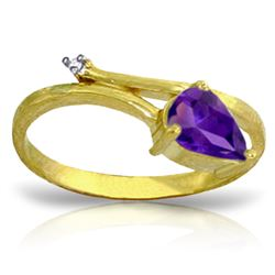 Genuine 0.83 ctw Amethyst & Diamond Ring Jewelry 14KT Yellow Gold - REF-40W5Y