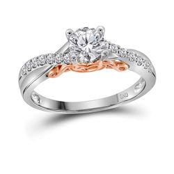 0.63 CTW Diamond Solitaire Bridal Engagement Ring 14KT White Gold - REF-172K4W