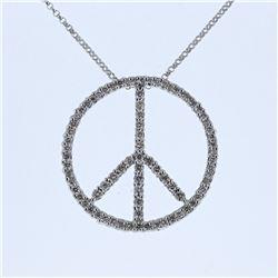 0.80 CTW Diamond Necklace 14K White Gold - REF-61R5K