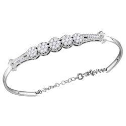 1 CTW Diamond Cluster Promise Bangle Bracelet 10KT White Gold - REF-97F4N