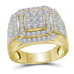 2.5 CTW Mens Diamond Square Cluster Ring 10KT Yellow Gold - REF-176H2M