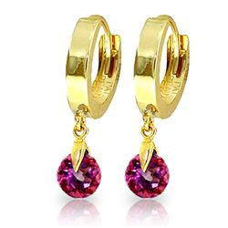 Genuine 2 ctw Pink Topaz Earrings Jewelry 14KT Yellow Gold - REF-26A2K
