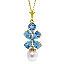 Genuine 3.65 ctw Blue Topaz & Pearl Necklace Jewelry 14KT Yellow Gold - REF-27M6T