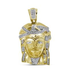 0.25 CTW Mens Real Diamond Jesus Christ Piece Large Charm Pendant 10KT Yellow Gold - REF-67N4F