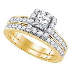 1.25 CTW Princess Diamond Halo Bridal Engagement Ring 14KT Yellow Gold - REF-240F2N
