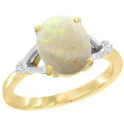 Natural 1.42 ctw Opal & Diamond Engagement Ring 10K Yellow Gold - REF-24Y2X