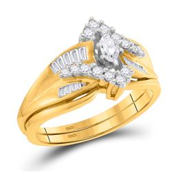 0.52 CTW Marquise Diamond Bridal Engagement Ring 14KT Yellow Gold - REF-64M4H