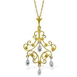 Genuine 0.02 ctw Diamond Anniversary Necklace Jewelry 14KT Yellow Gold - REF-36M5T